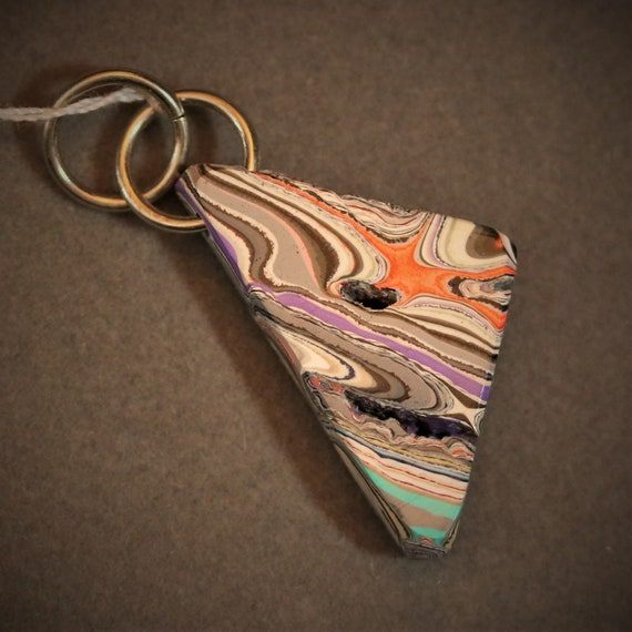 """Fordite pendant, lavender yellow gray plus, """"Triangular Two"""", jumps bail  17.5ct"""