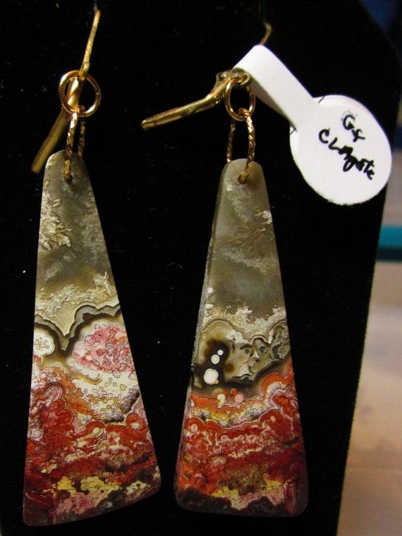 Earrings J, Crazy Lace Agate, gold lever backs