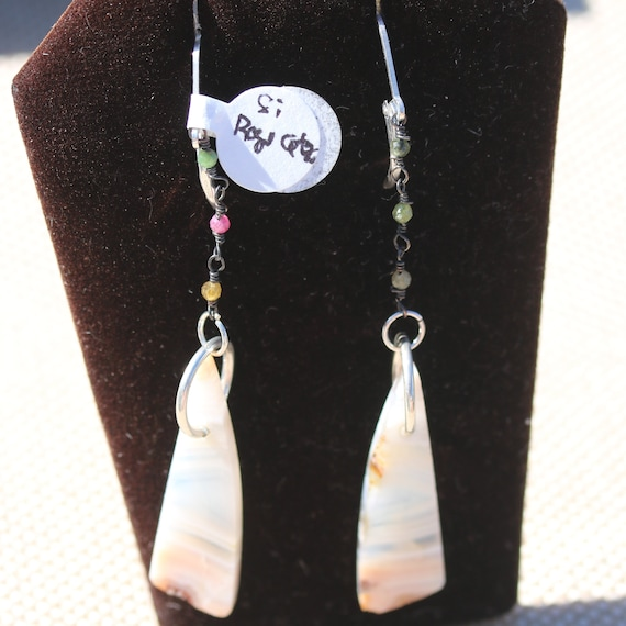 Earrings Pink Agate, 3 Tourmaline beads, silver lever backs