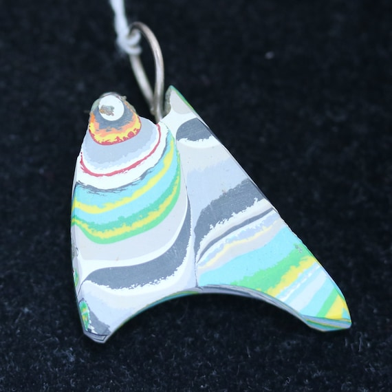 Fordite pendant, gray white green yellow, silver bail 14ct