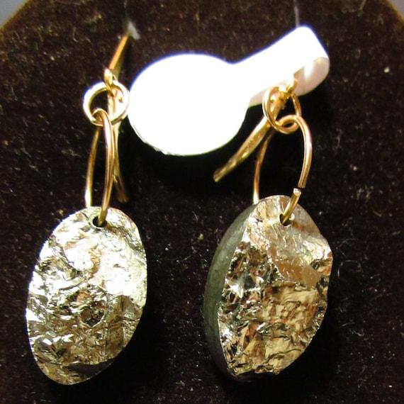 Earrings J, Pyrite, gold lever backs