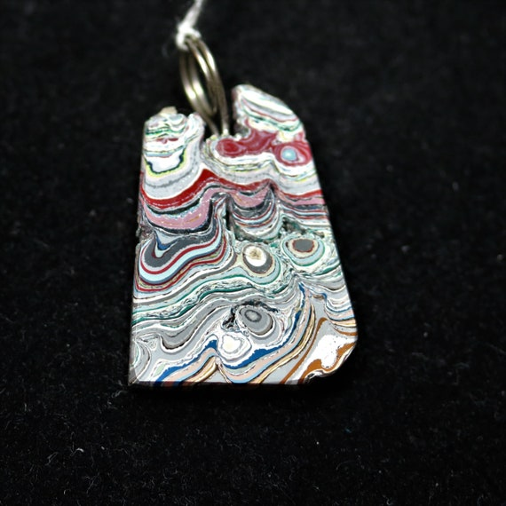 """Fordite pendant, blue white black pink, """"Whished Away"""", silver twirl bail 11ct"""