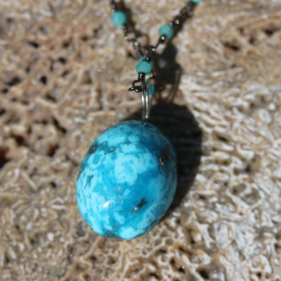 """Turquoise pendant 20ct, 18"""" beaded chain, lobster clasp"""