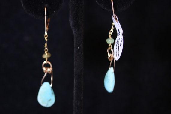 Earrings J, Sleeping Beauty faceted Turquoise Teardrops, Tourmaline beads, gold lever backs
