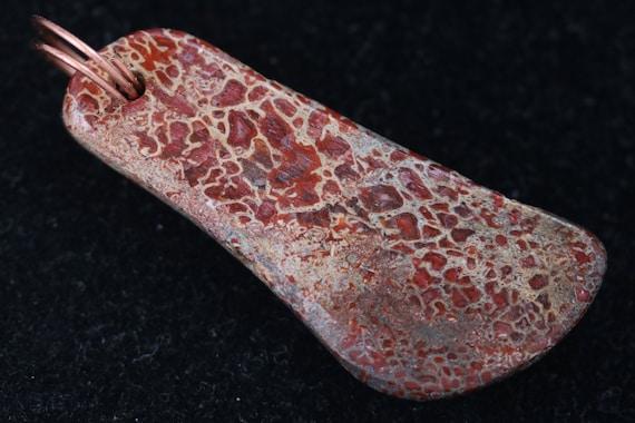 Dinosaur Bone pendant, red tan, Copper Twirl Bail 66ct