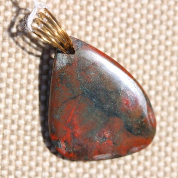 Bloodstone pendant, red black, silver twirl bail 24ct