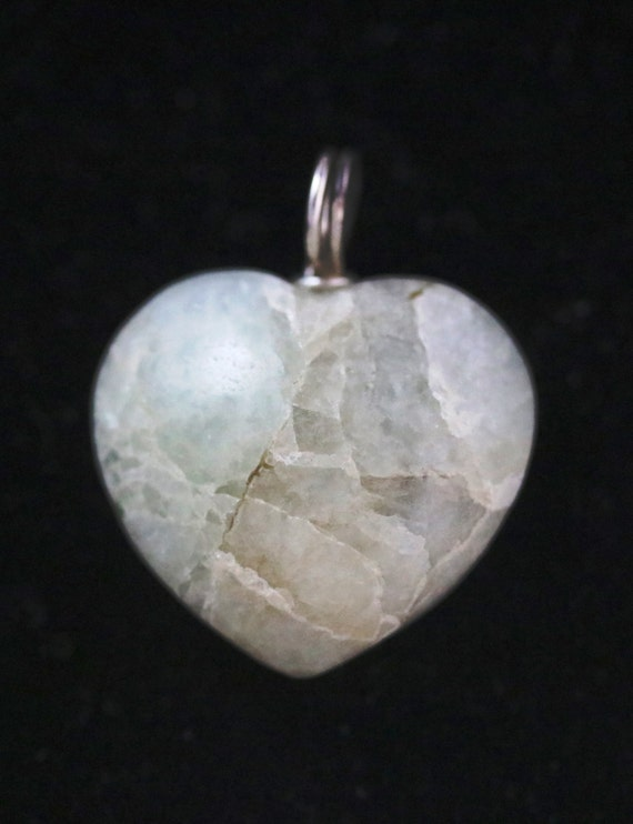"Aquamarine heart pendant, pale green, ""Beautiful Beryl"", silver twirl bail 68ct"