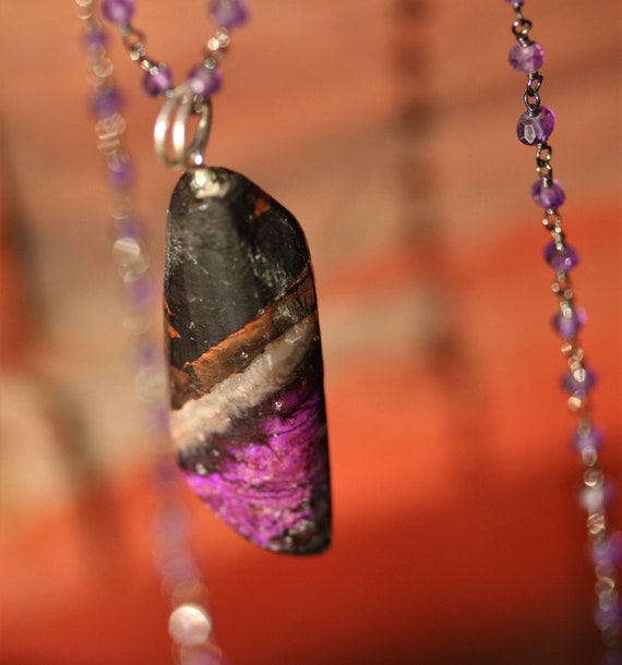 "Old Stock Sugilite Pendant, 39ct, purple lavender tan black, Necklace on Anodized silver beaded Amethyst 18"" chain"