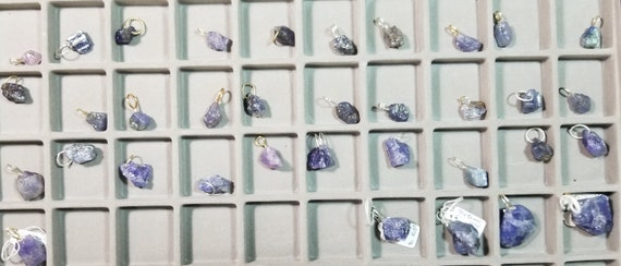 Tanzanite 35 nugget pendants, lavender blue, silver and gold bails