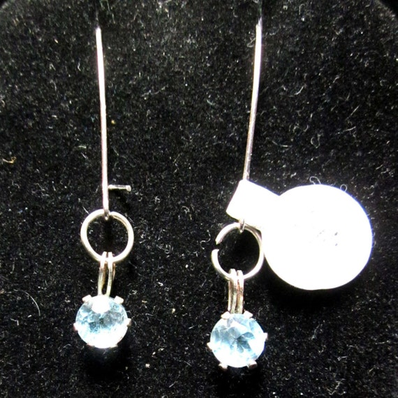 Earrings J Blue Topaz Decmeber Birthstone, in silver bezels with sterling silver kidney wires 7ct