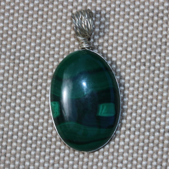 Malachite pendant, light dark green, silver wire wrap bail 59ct