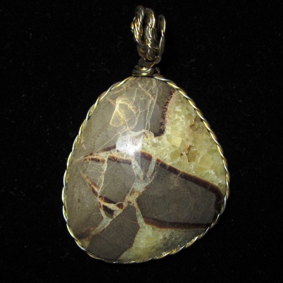 Mr Natural Septarian Concretion Pendant gold wire wrap bail 60ct Nose
