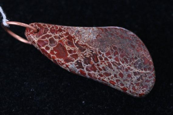 Dinosaur Bone pendant, red tan, Copper Jump Bail 50ct