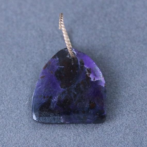 Sugilite pendant, purple lavender, gold twisted jump bail 6ct