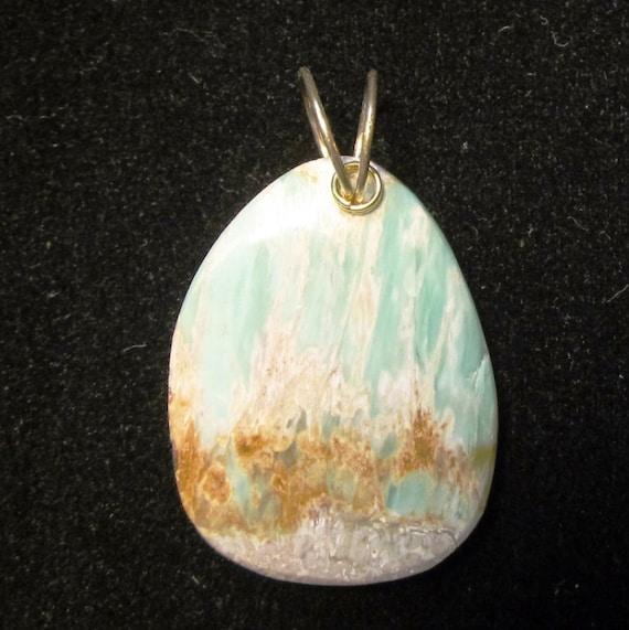 Variscite Pendant, Australia, brown green tan, gold twirl bail 44ct
