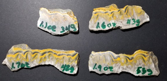 Bumblee Jasper 4 small slabs, orange yellow white black