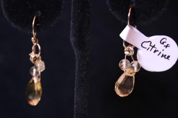 Earrings J, Citrine Teardrops and beads, gold lever backs