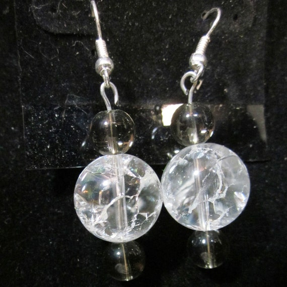 Earrings Jen 21 clear beads, sterling silver, sterling silver