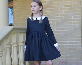 Wednesday Addams Costume Dress, Girls