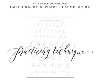 Calligraphy Alphabet Practice Printable Download Worksheet Traceable Sheet Learn
