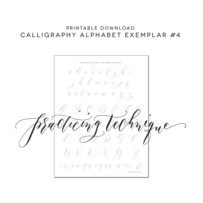 image relating to Printable Calligraphy Practice referred to as Calligraphy Alphabet Prepare, Printable Obtain Calligraphy Prepare Worksheet, Traceable Sheet, Understand Calligraphy - Alphabet 4 Exemplar