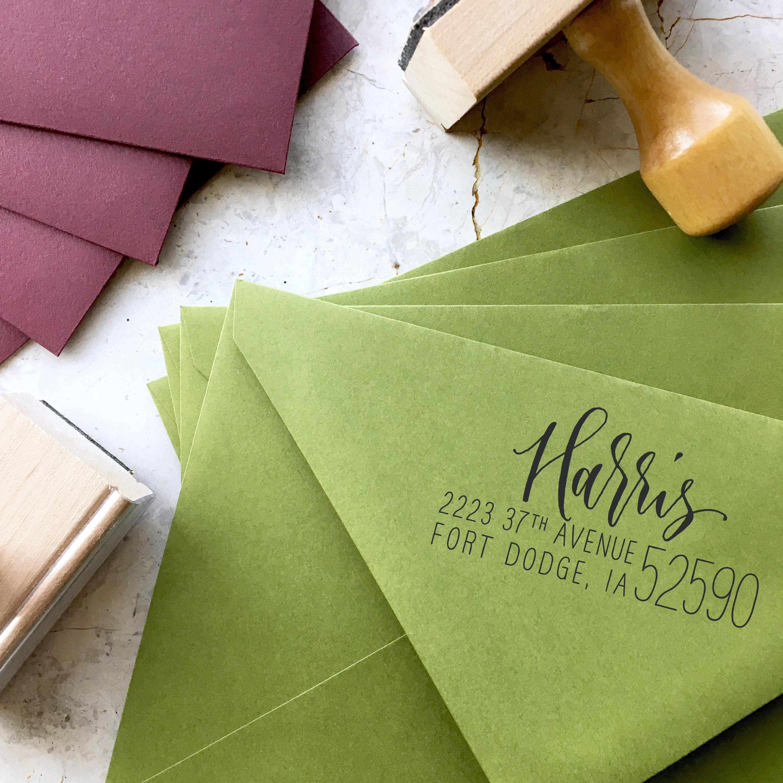 Custom Address Stamp, Calligraphy Stamp, Self Ink Return Address Stamp, Wedding Address Stamp, Self Ink Custom Stamp - Rebel Stout Large Zip