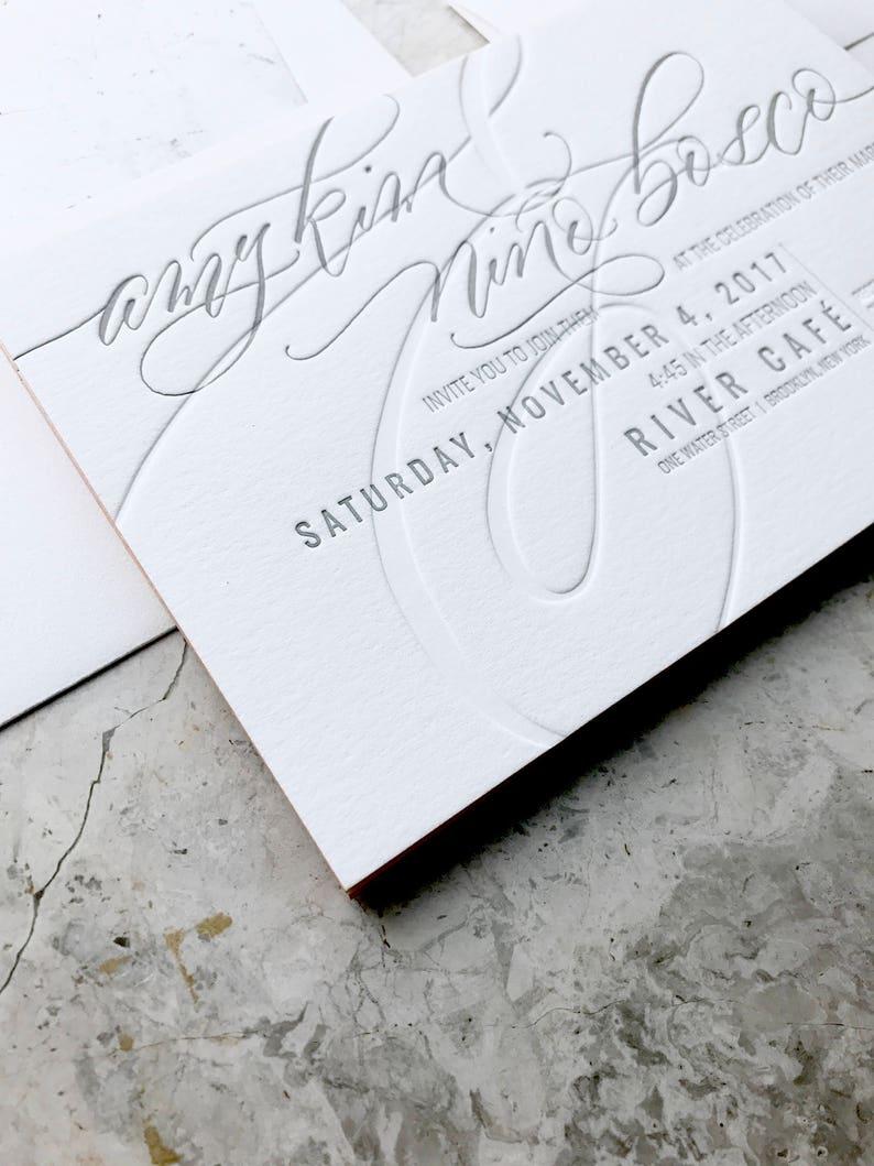 Chic Modern Sexy Romantic Letterpress Wedding Invitations