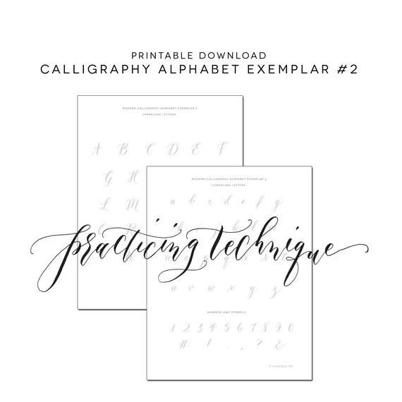 Calligraphy Alphabet Printable Practice Worksheet Alphabet 2 Etsy