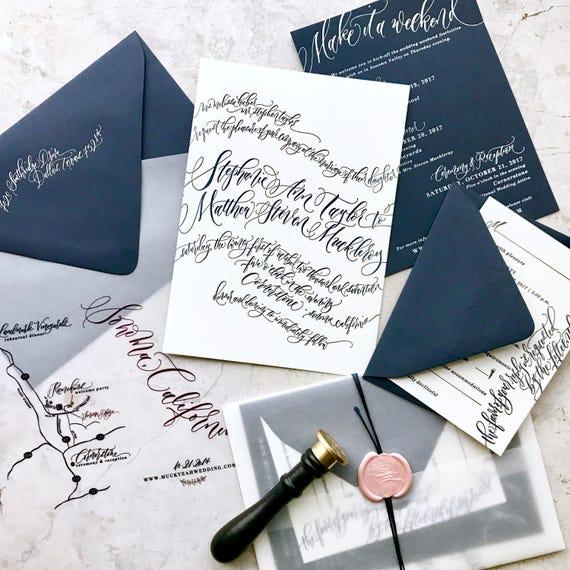Letterpress Wedding Invitations Romantic Calligraphy Waves Etsy