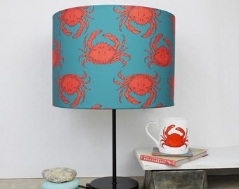 Crab Lampshade - nautical lampshade - coastal decor - crab - housewarming gift - turquoise lampshade - beach decor - table lampshade