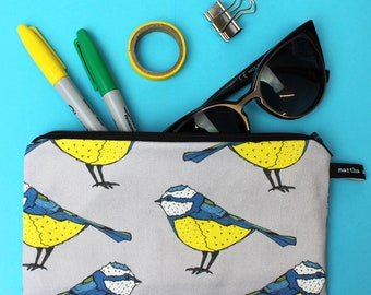 Blue Tit Pencil Case - Make Up bag - pencil pouch - student gift - teacher gift - pencil holder - zipper pouch -gift for her -back to school