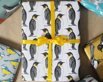 Christmas Penguin Wrapping Paper - Eco Wrapping Paper - Eco Wrapping Paper