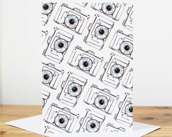 Camera Notecard - photographers card - vintage camera card - typography card - smile card - thank you card - notelet - notecard