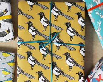 Yellow Magpie Gift Wrap - birthday wrapping paper - wedding gift wrap - wrapping paper for men - gift wrapping paper - bird wrap - decoupage