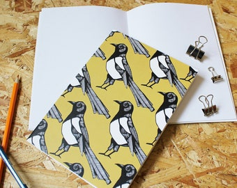 Magpie A5 Notebook -Teacher Gift - blank notebook - bird notebook - A5 notebook - yellow - cute notebook - gift for her - gift for him
