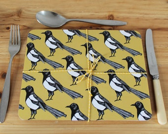 Magpie Placemat Set - place mats - table mats - bird placemats -  cork placemat- placemat set - yellow placemats - magpie - new home gift