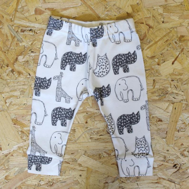 3667e1c27 Monochrome animal print unisex baby leggings handmade from 100% cotton  jersey - ... Monochrome animal print unisex baby leggings handmade from  100% cotton ...