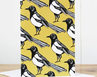 Magpie Notecard - thank you card - notelet - notecard - blank notecard - note card - writing paper - bird notecard - magpie - yellow card