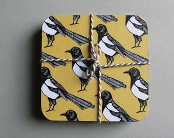 Magpie Coaster Set - yellow coasters - bird coasters - coaster set - coaster - drinks mat - magpie gift - table coasters - new home gift