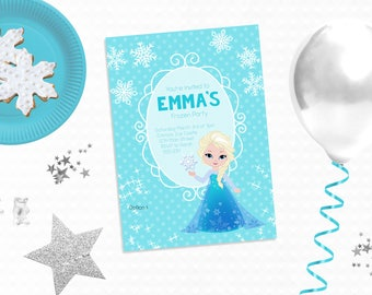 Personalized Printable Frozen Inspired Invitation - Frozen Favor Tag or Printable Party featuring Elsa for Birthdays or Frozen Parties
