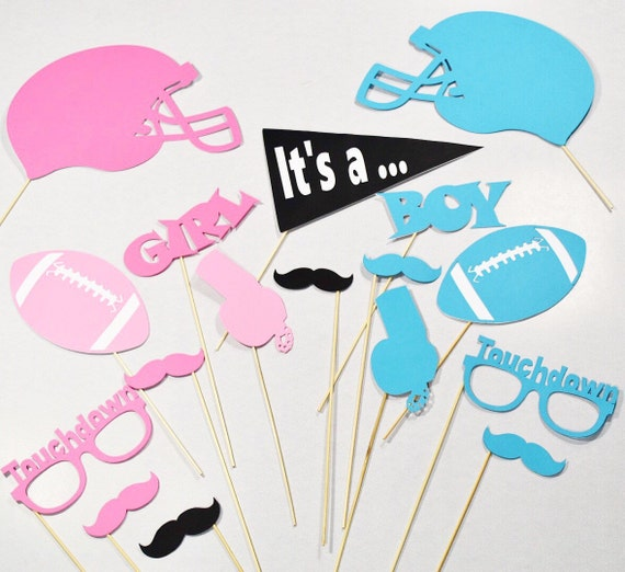 Football Gender Reveal Photobooth Props Football Baby Shower Etsy
