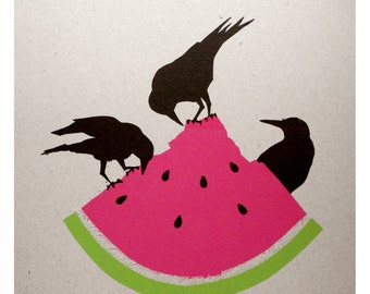Dumpster Delight - a screenprint of crows and watermelon