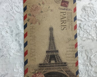 Vintage inspired Eiffel Tower Paris grunge cards tags set 8 with envelopes