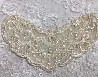 Beautiful Vintage Style Embroidered Lace Yoke Panel, Sewing, Embellishments, Junk Journals, Scrapbooks