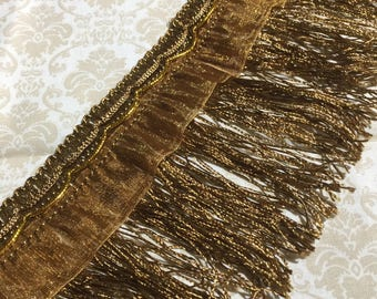 Vintage Style Old Gold Curtain Fringe, Sewing, Embellishments, Fabric, Trims