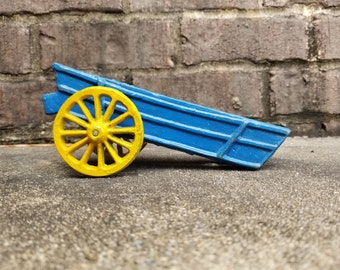 Vintage Blue and Yellow Wagon - Cast Iron