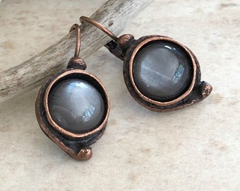Chocolate Moonstone Earrings | natural stone jewelry in antique copper bezels