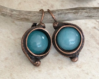 Apatite Earrings | natural stone jewelry in antique copper bezels