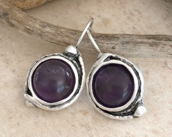 Amethyst in Silver Earrings | purple stone jewelry in lever back bezels