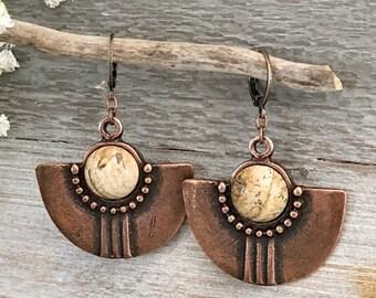 Tribal Fan Earrings | natural desert jasper stones in copper jewelry